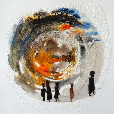 """""""Conte d'eau 2"""", encre, acrylique, feutre, pastel gras, sur papier sous-verre 30x30 cm, cadre bois chêne clair"""