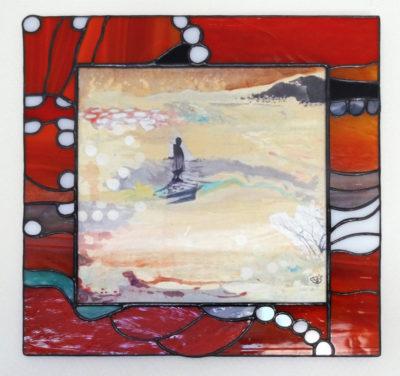 """""""Désert de feu"""", collage, acrylique, gouache, sur carton gris 20x20 cm + cadre vitrail"""