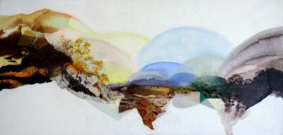 """""""De l'aube jusqu'à l'aurore"""", collage, acrylique sur toile 3D, 60x30 cm"""