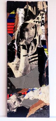 """""""Lacéré 02"""", collage, encre, sur carton avec fixation au dos, 14,5x40 cm"""