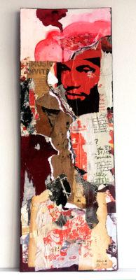 """""""Lacéré 01"""", collage, encre, sur carton avec fixation au dos, 14,5x40 cm"""