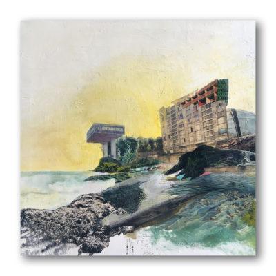 """""""Kata-clysme"""", collage, acrylique, sur toile 3D 50x50 cm"""