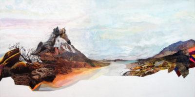 """""""Montagne"""", collage, acrylique sur toile 3D, 80x40 cm"""