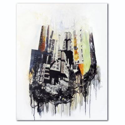 """""""Racines"""", transfert de collage, acrylique sur toile, 73x92 cm"""
