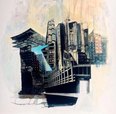 """""""Exit"""", transfert de collage, acrylique sur toile, 80x80 cm"""